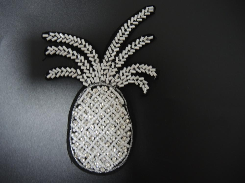 Cute pineapple rhinestone sewing patch bag beads embroidery patch