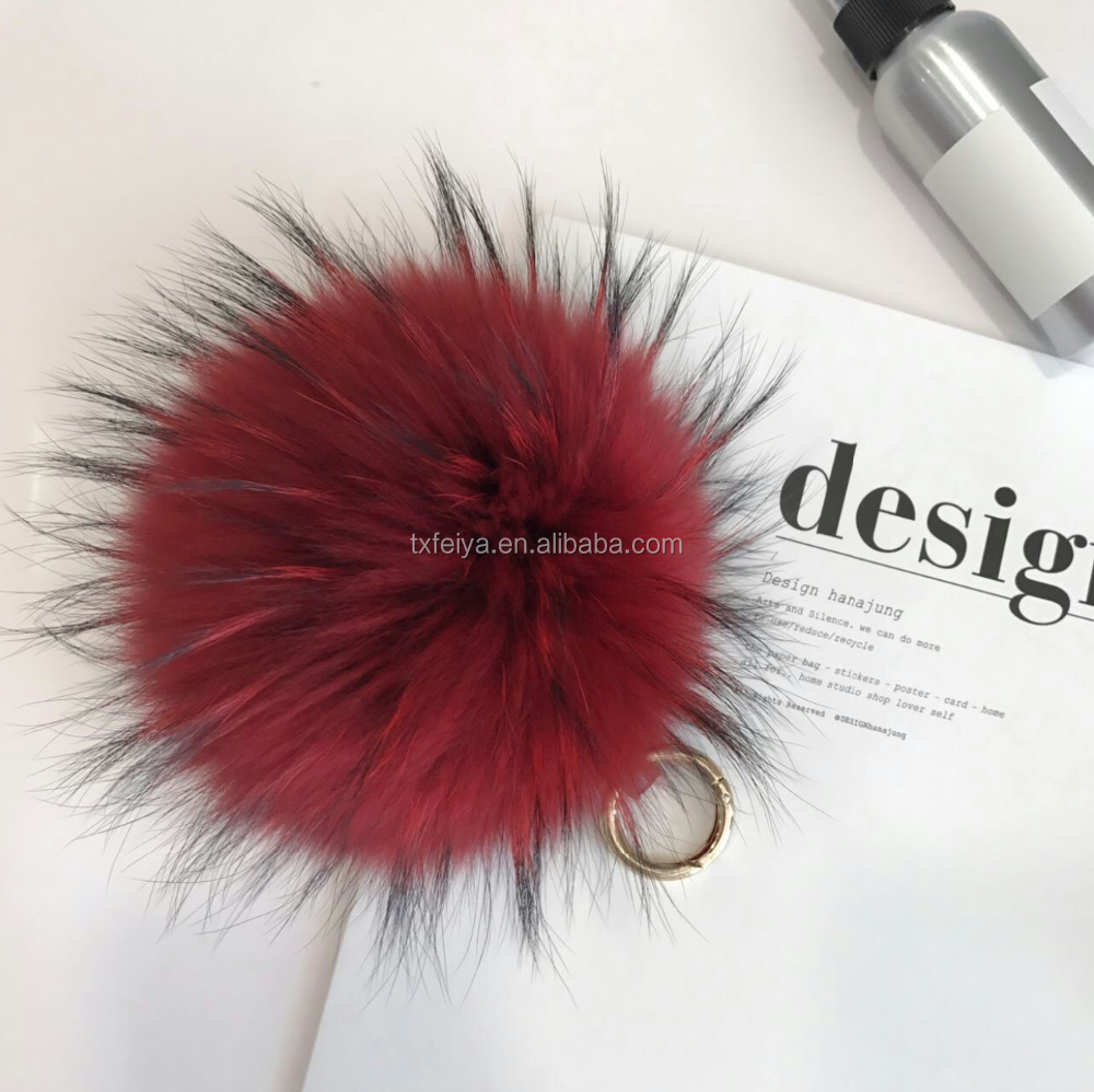Wholesale Fashion Accessories Fur Pom Keychain Raccoon Fur Pompoms