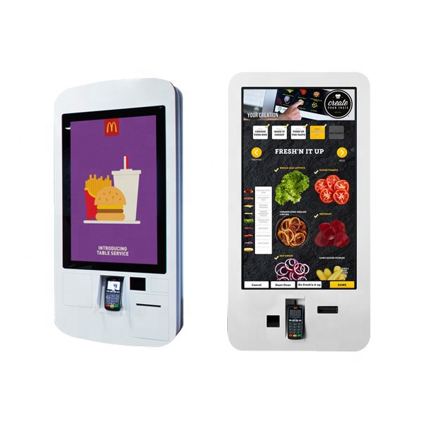 32'' self service touch screen order fast food <strong>payment</strong> kiosk with thermal printer and QR code scanner