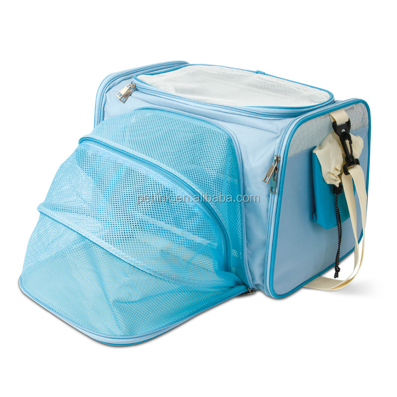 Hot Selling Blue Expandable Pet Carrier for Rabbit, Chinchilla, Giuinea Pig