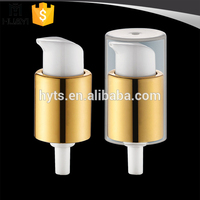 18/410 plastic cover cap bottle pump dispenser with golden metal material