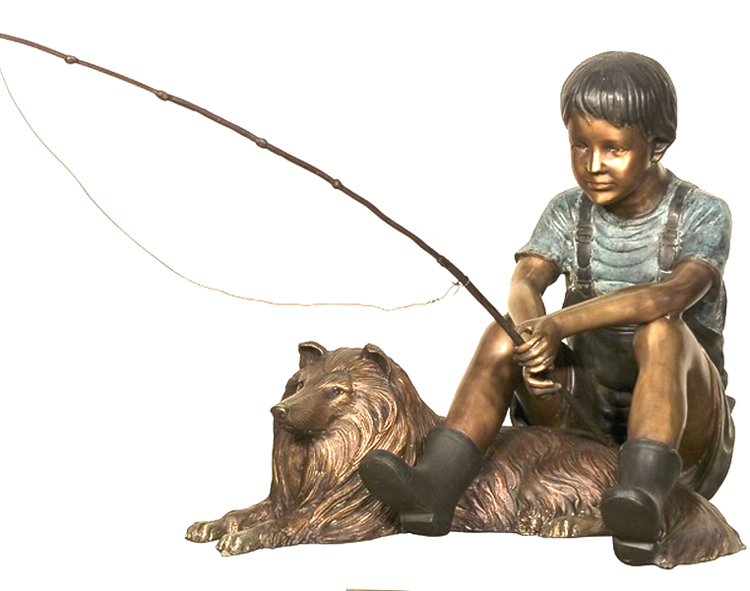garden decoration life size fishing bronze boy sculptures with dog statue