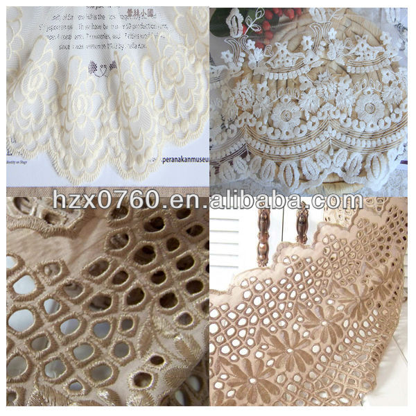 Nylon white cotton lace embroidery fabric for skirting tile