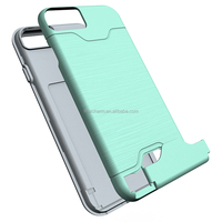 Mobile phone case with sliding compartment slot fits 2 cards for Iphone 7 7 plus