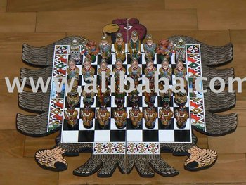 Chess Set Handmade Incas Vs. Spaniards Eagle Shape Board