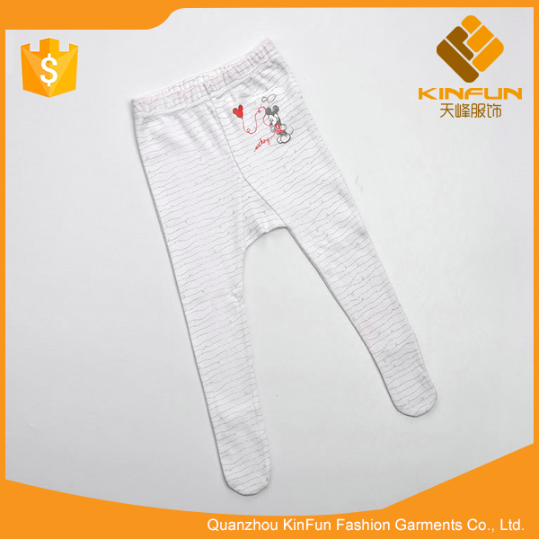 Popular selling spring white stripe cozy close cotton baby sock pants