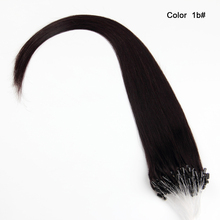 "16""-26"" Color #01 #1B easy weft micro ring loop human hair extensions from asia"