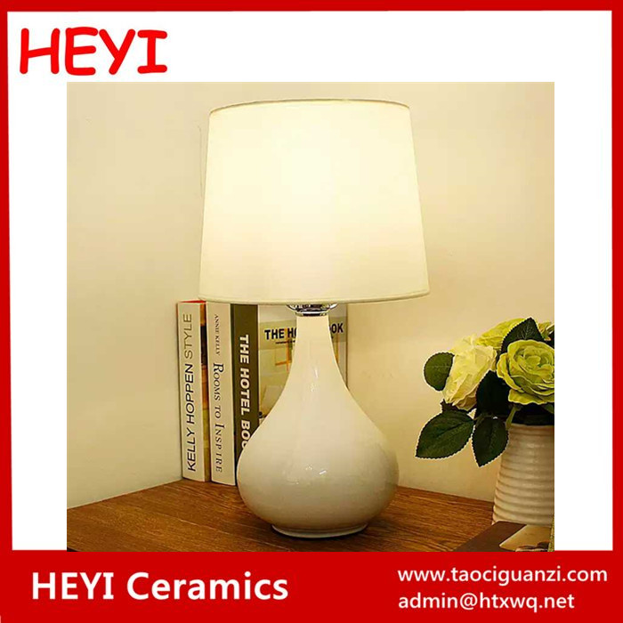 Pure white ceramic bedroom table lamp