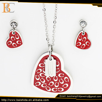 jewelry gold modal steel heart shape necklace and earring sets bijou