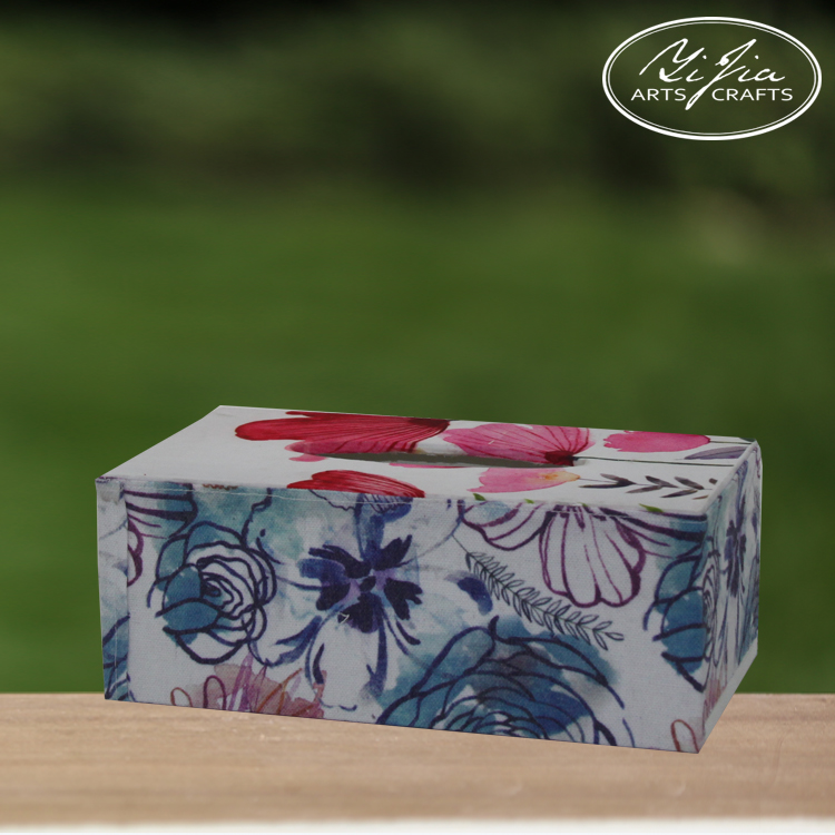 Luxury Wood With Fabric Custom Printed Tissue Box