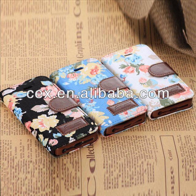 Elegant Flower and Deluxe Book Style Folio PU Leather Wallet with Magnet Design Flip Case Cover Credit Card Holder For iPhone 5
