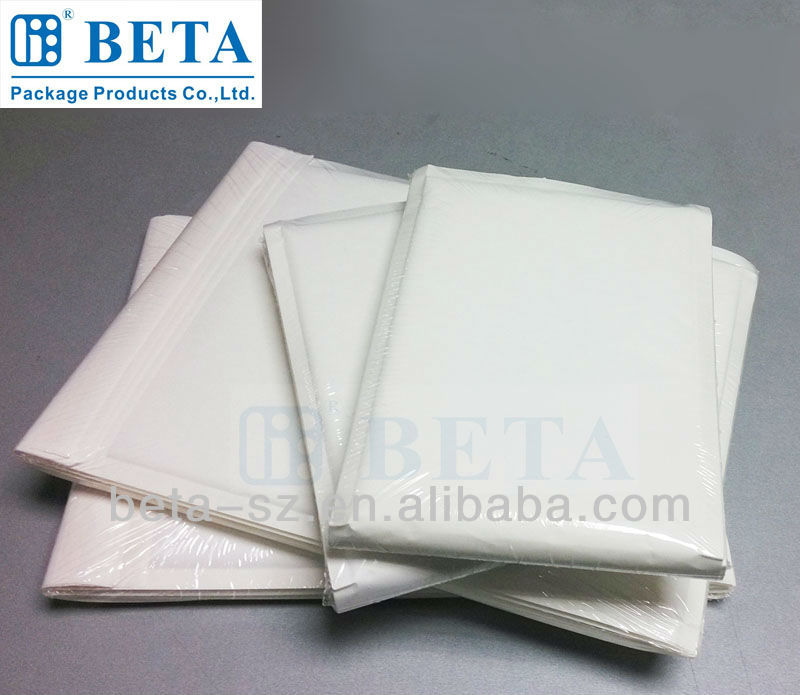 Retail Shrink Wrap White Kraft Bubble Envelopes Bubble Lining Paper Bags