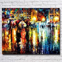 Framed Canvas Wall Arts Decor Painting Rain Landscape Pictures