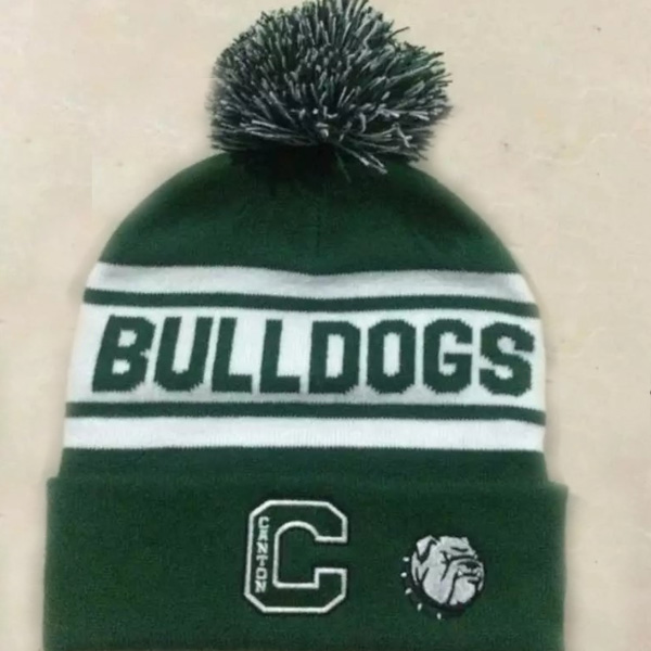 OEM Winter Canada Striped Knit Beanie Green and White Pom Pom Toque Hat