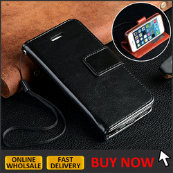 IN STOCK // Premium black leather wallet case for iphone 5 5s se PU leather flip cover