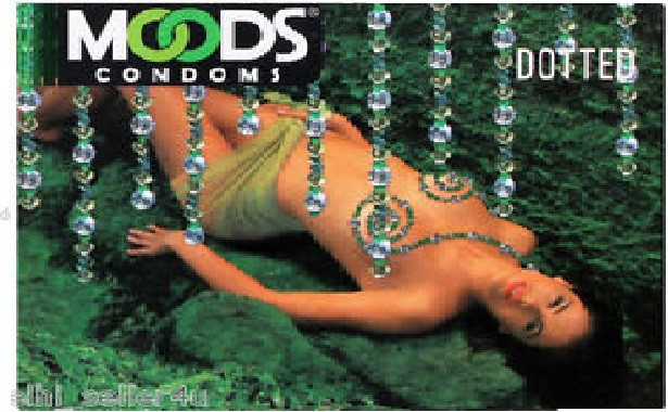 Moods dotted Condoms lubricated green colour