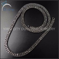 Hip Hop Men's 2 Row Gunblack 2 Row CZ Chain Jewerly Necklace