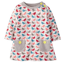 Print Animal Birds cotton smocked children clothing wholesale
