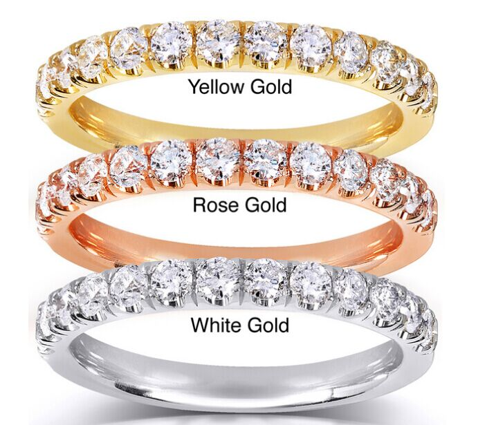 2017 Pretty 14K Gold 1/2ct TDW Diamond Wedding Ring Designs