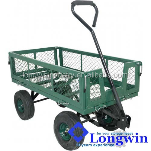 flatbed wheelbarrow 4 wheels heavy duty hand pull trolley
