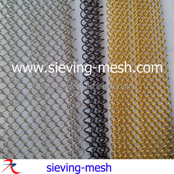 China fashional architectural decorative metal drapery prices, metallic coil wire mesh curtains