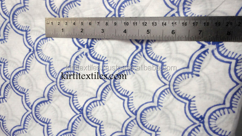 Latest Designs Indian Abstract Looking Sanganeri Hand Block Printed 100% Organic cotton fabric