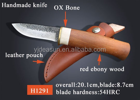 H1106 Hand Crafted Deer Horn Handle Fixed blade knife Hunting Knife