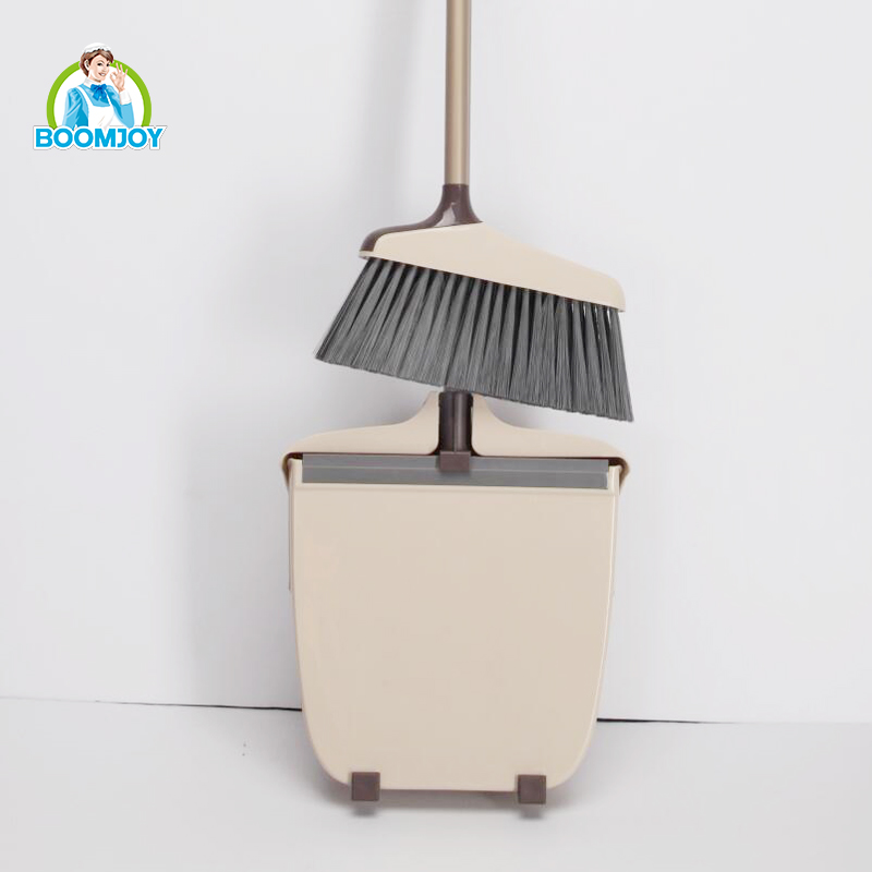 Boomjoy foldable broom and dustpan set for home cleaning.