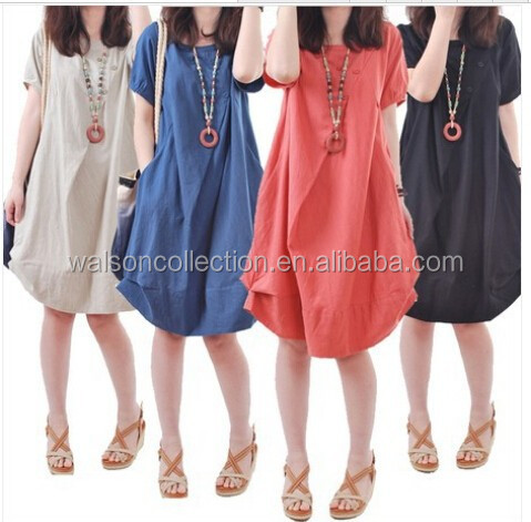 good quality Plus size Clothing Women 5 Colors Linen Blend Casual Cotton Dresses Women Bohemian Loose Cute Summer Dress 2015