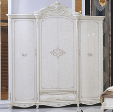 White Antique French European Style 4 Door wardrobe Bedroom Furniture