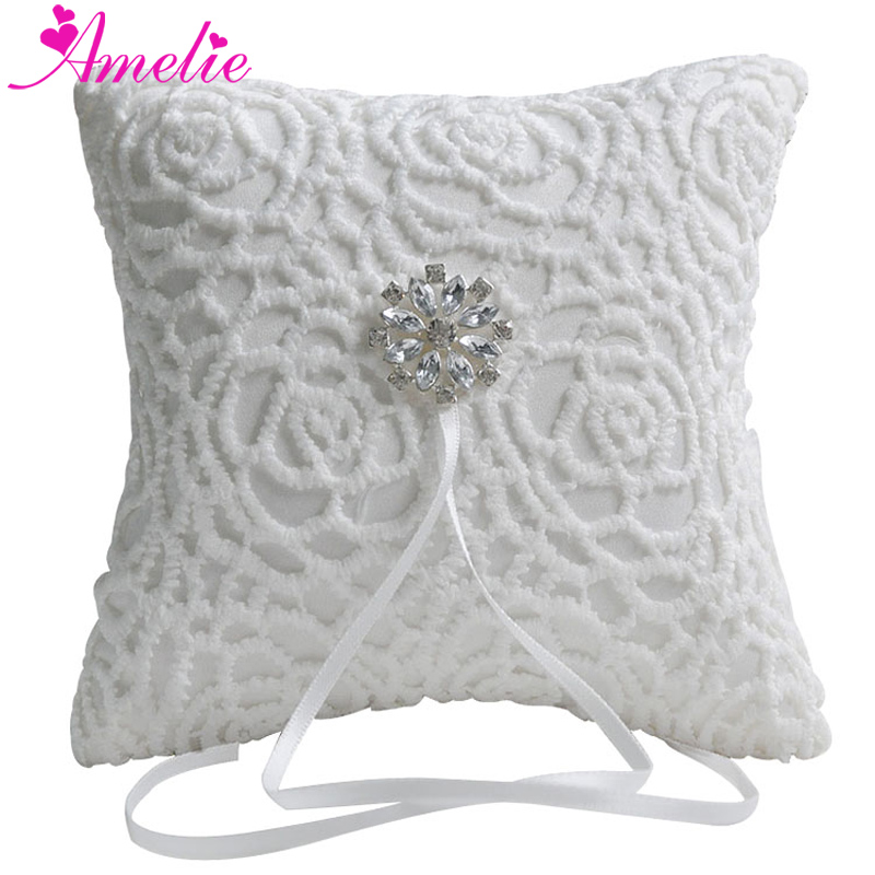 Western Wedding Favors White Lace Rhinestone Bridal Ring Bearer Pillow Cushion Home Decoration Ring Pillow
