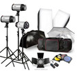 Godox 250W Studio Flash Strobe Lighting Umbrella Kit 3X 250W