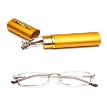 Wallet Pocket Pen tube metal slim mini reading glasses with Aluminum Case
