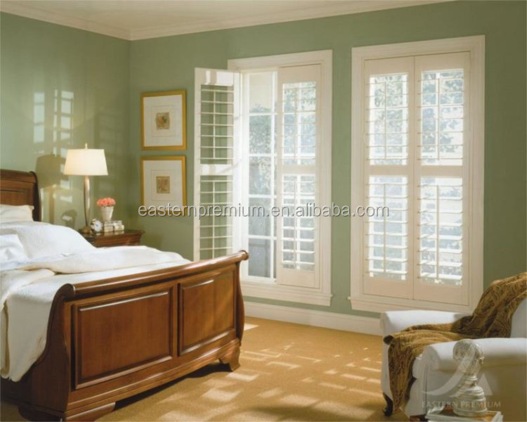 Unique DIY Stained Color Arched Wooden Plantation Window Shutters from China