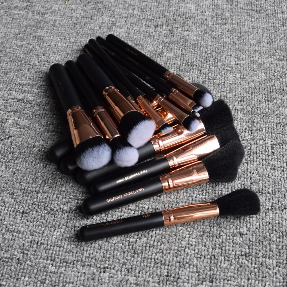 2018 high quality cosmetic brush ! 15pcs private label custom wooden synthetic make up brushes wholesale makeup brushes