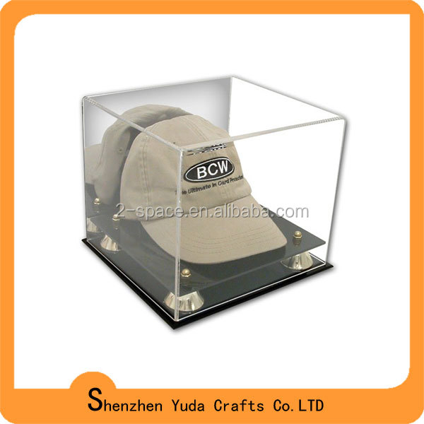 Desktop style perspex cap/hat display case with mirror back