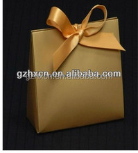 customizd brown corrugated paper printing small gift bag with champagne color ribbon tie