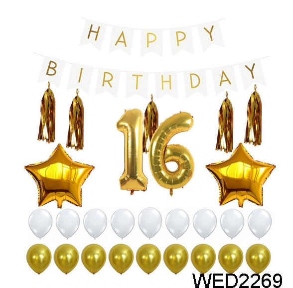 Hot Sale Latex Gold And White Balloon 16th Birthday Sparkle Metallic Balloon Birthday Banner Decoration Set