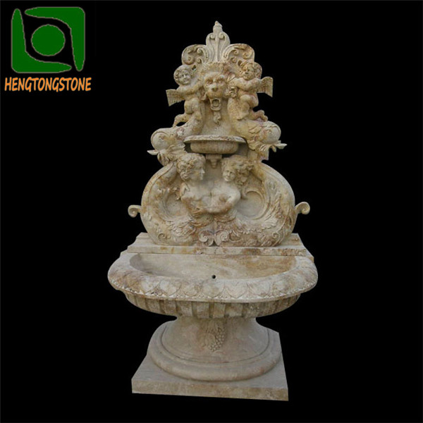 Stone Carved Lion Head Decorative Wall Fountain