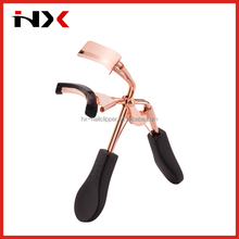 Custom Rose Gold Color Eyelash Curler with Soft Rubber Handle