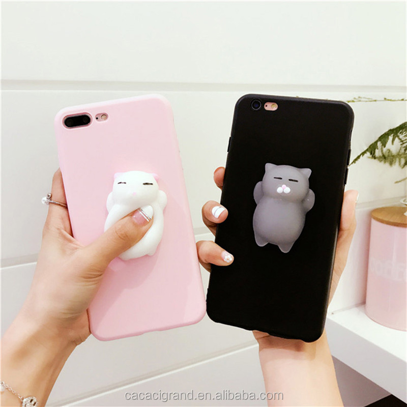 Hot Cartoon Squishy 3D Cats Phone Cases For iPhone 6 6S 6Plus 8 7 7Plus X case Lovely Bear Soft Silicone Back Cover Cute Coque