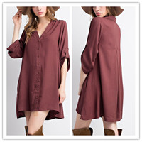 Relaxed Fit 3/4 Sleeves Short Mini Dress Button Down Shirt Dress (16101403)