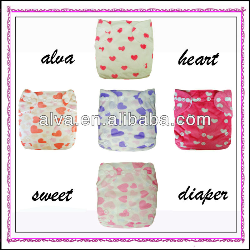Stocklots Minky Reusable Cloth Baby Girls In Diapers with Heart Design