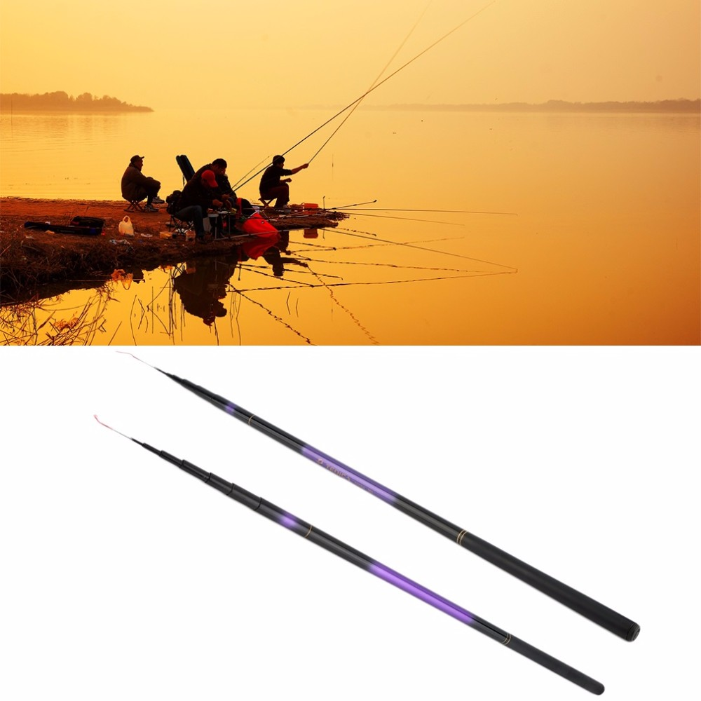 Professional Glass Fiber Steel Telescope Fishing Rod Spinning Pole Portable