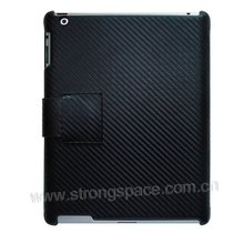 for iPad 2 carbon fiber leather case