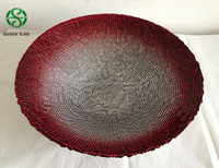 Hot Sale Red Silver Decorative glass fruit bowl wholesale