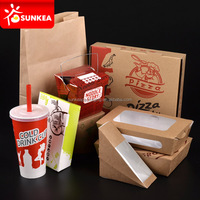Custom logo printed disposable food packaging box window