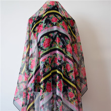 Women's custom flowers printed chiffon shawls and scarves