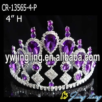 Purple Crystal Wholesale Jingling Pageant Crowns Tiaras