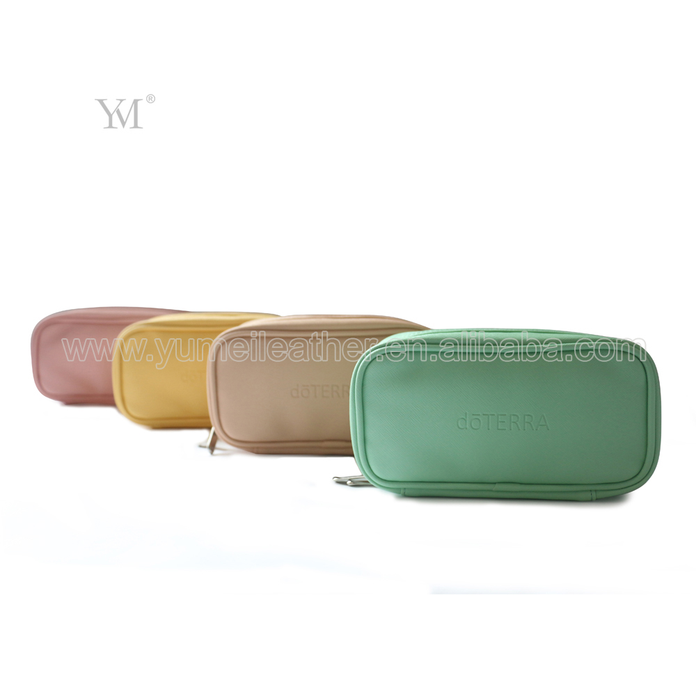Custom brand macarons color travel leather essential oil carrying bag case for wholesale